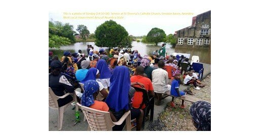 Photo of Photos of Christians unable to access their flooded church in Anambra