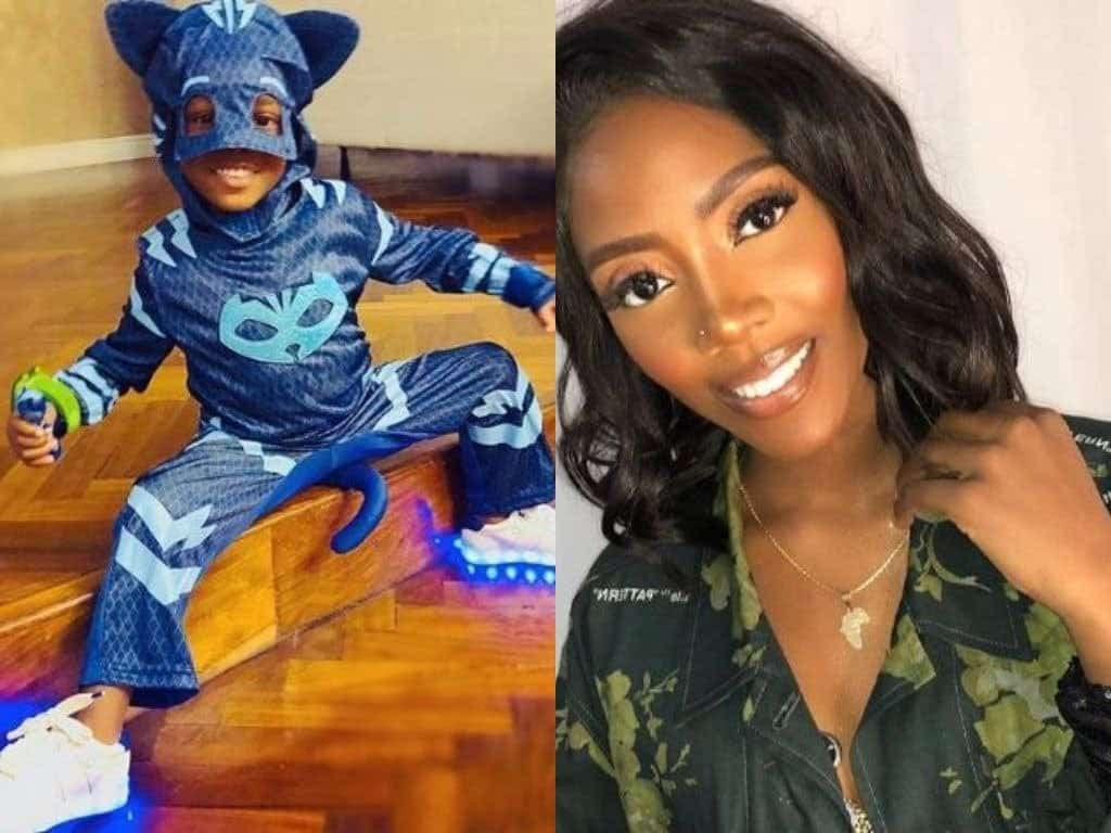 Photo of Tiwa Savage shares cute picture of baby Jam Jam in his Halloween costume