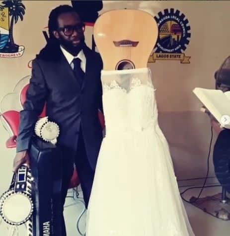 man marries guitar