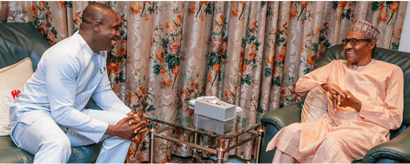 Photo of Obasanjo's son meets Buhari inside Aso Rock (photos)