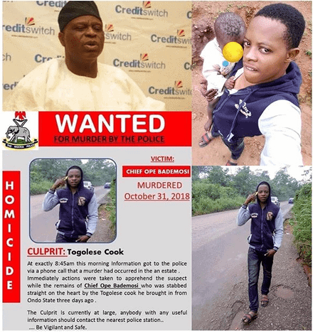 Photo of Killer cook of Chief Bademosi, declared wanted