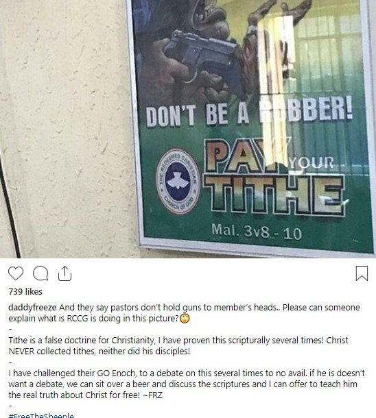 "Photo of Daddy Freeze criticizes RCCG banner which says ""Don't be a robber, pay your tithe"""