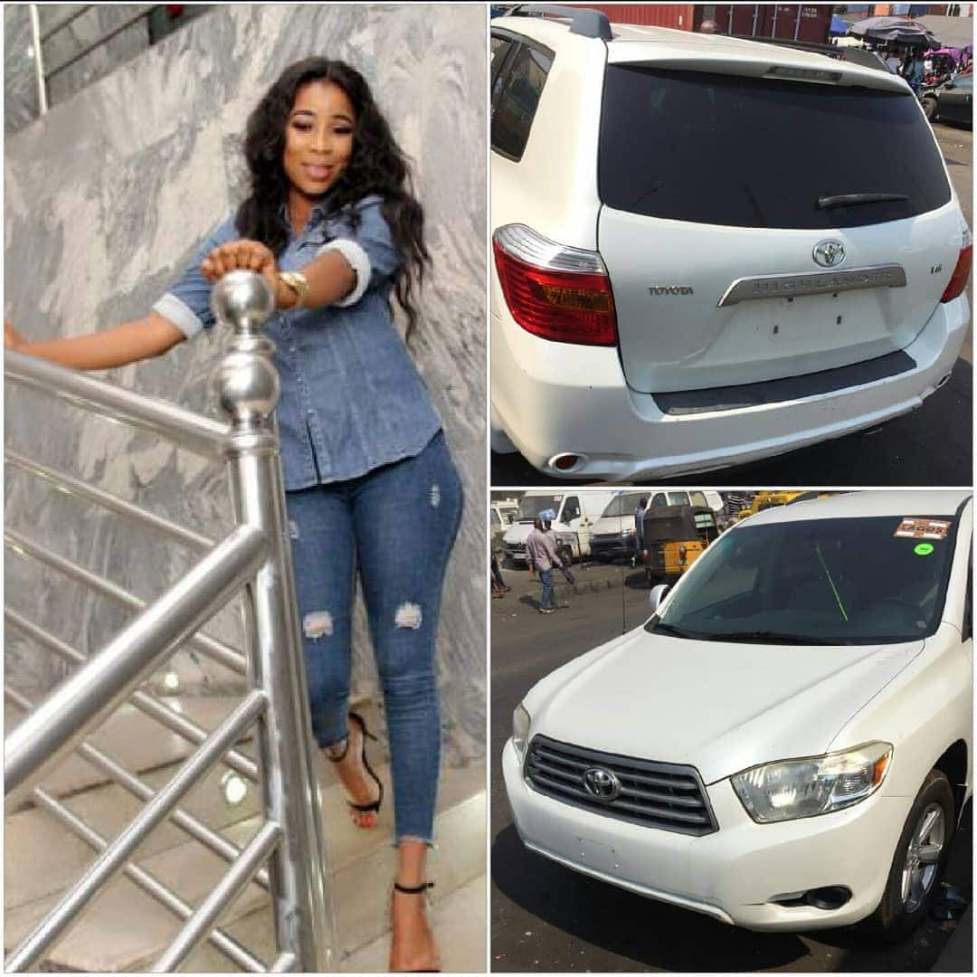 Photo of Fans react as actress Kemi Korede flaunts SUV her godfather bought for her