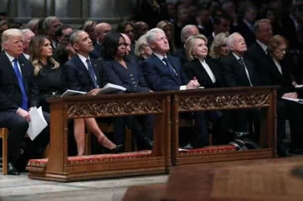 Photo of George HW Bush funeral: Four Presidents sit (awkwardly) on one pew