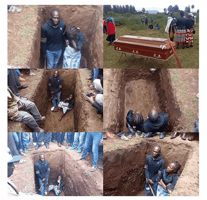 Photo of Widow sits inside grave to prevent her husband's burial