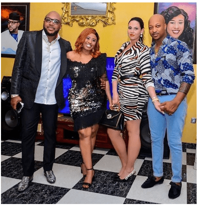 Photo of IK Ogbonna and wife Sonia, spotted at E-Money's Christmas party