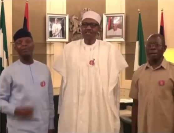 Photo of President Buhari, Osinbajo and Oshiomhole sing 'Merry Christmas' to Nigerians (Video)