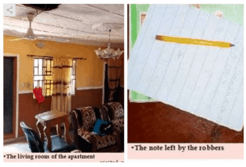 Photo of Nigerian robbers leave note behind at victim home