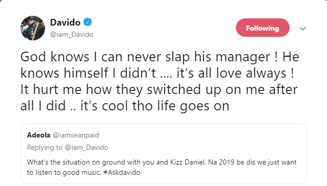 Davido addresses the allegations that he slapped Kizz Daniel's manager