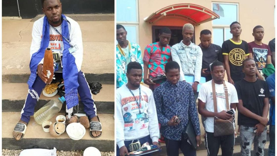 Photo of 14 suspected undergraduate internet fraudsters in EFCC net