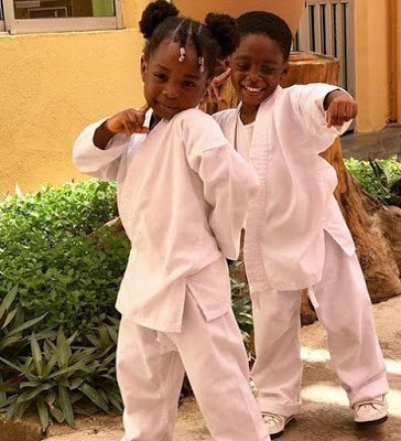 Photo of Davido's daughter and Tiwa Savage's son win Karate medals