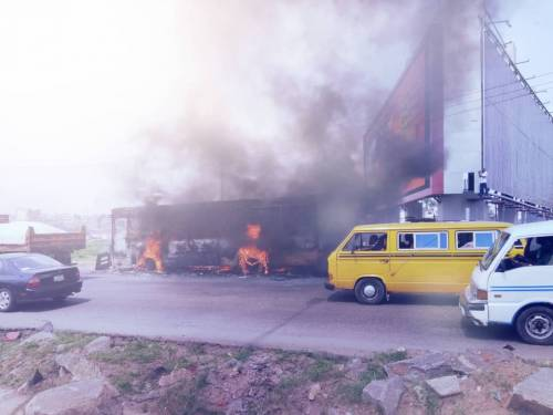 Photo of 46-passenger bus gutted by fire on Lagos-Ibadan expressway (Photos)