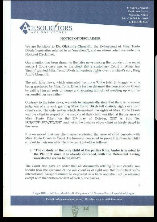 Olakunle Churchill says Tonto Dikeh doesn't have full custody of their son