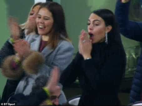 The moment Cristiano Ronaldo's girlfriend, Georgina Rodriguez was in tears after his hat-trick (Photos)