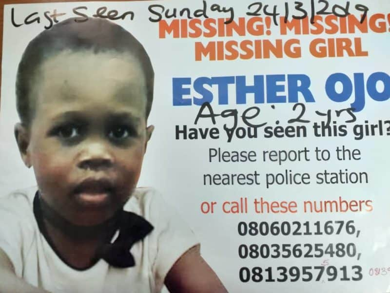 Photo of Two year old girl missing  at Mountain of Fire Church service