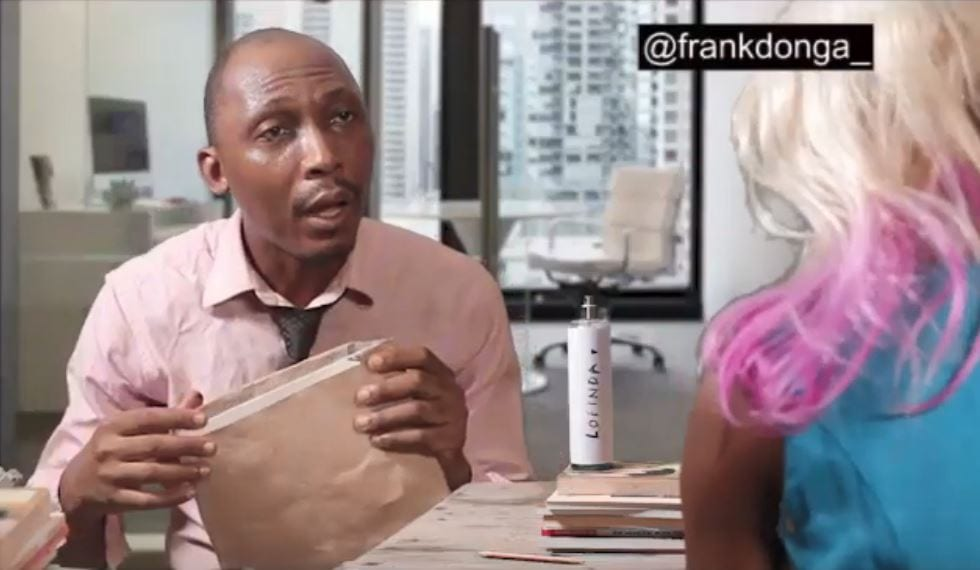 "Photo of Frank Donga finally got a job, then he told his employer ""you smell nice"" and this happened"