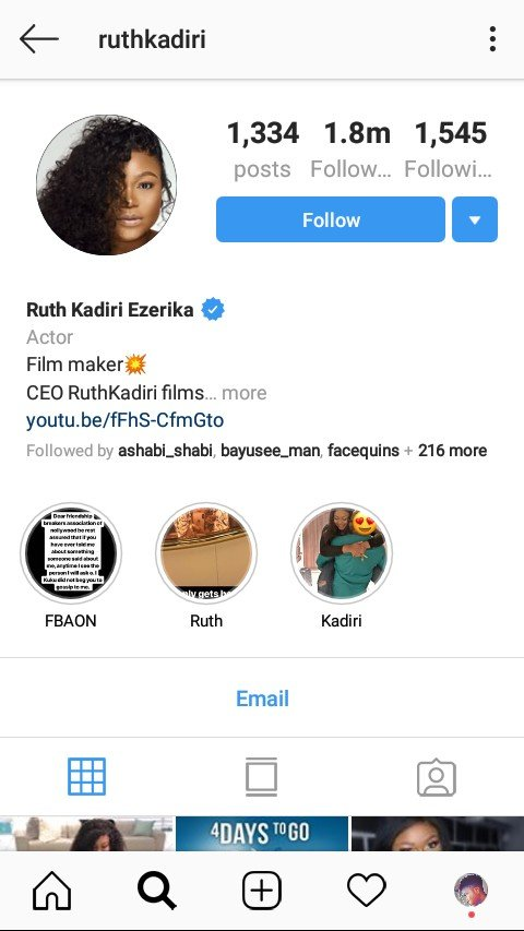 Is Ruth Kadiri married? Her name just changed on Instagram