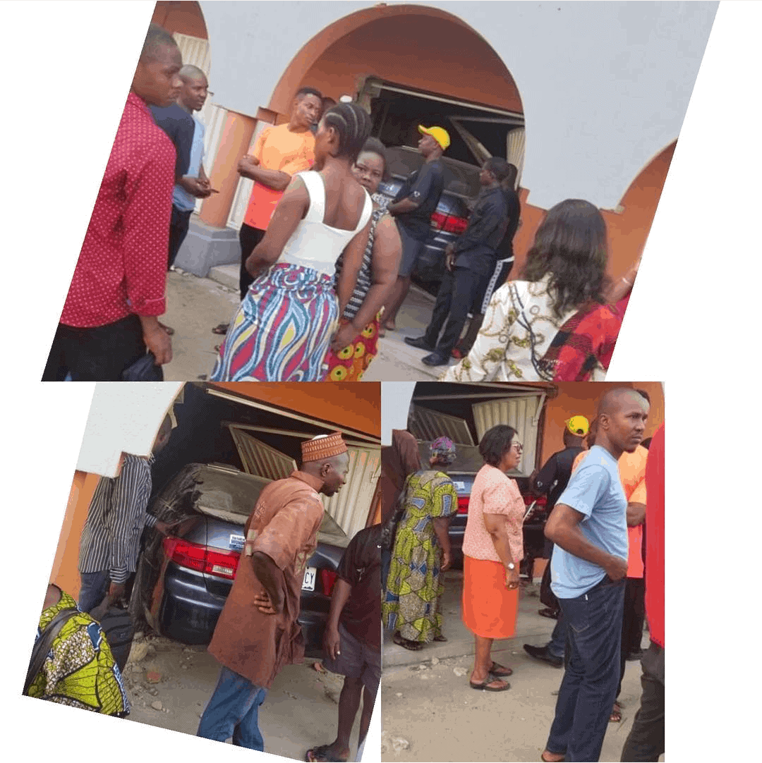 Photo of Drama as Man rams his car into a house in Ajah, Lagos (photos)