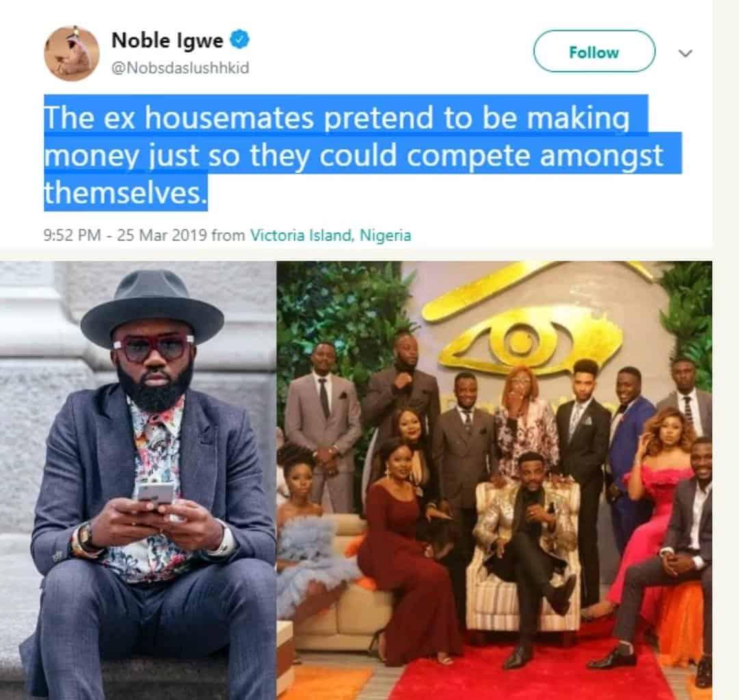 Photo of Noble Igwe shades Ifu Ennada, says Ex-BBNaija housemates pretend to be making money