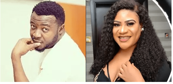 Photo of Actress Nkechi Blessing strips during MC Galaxy's live Instagram video