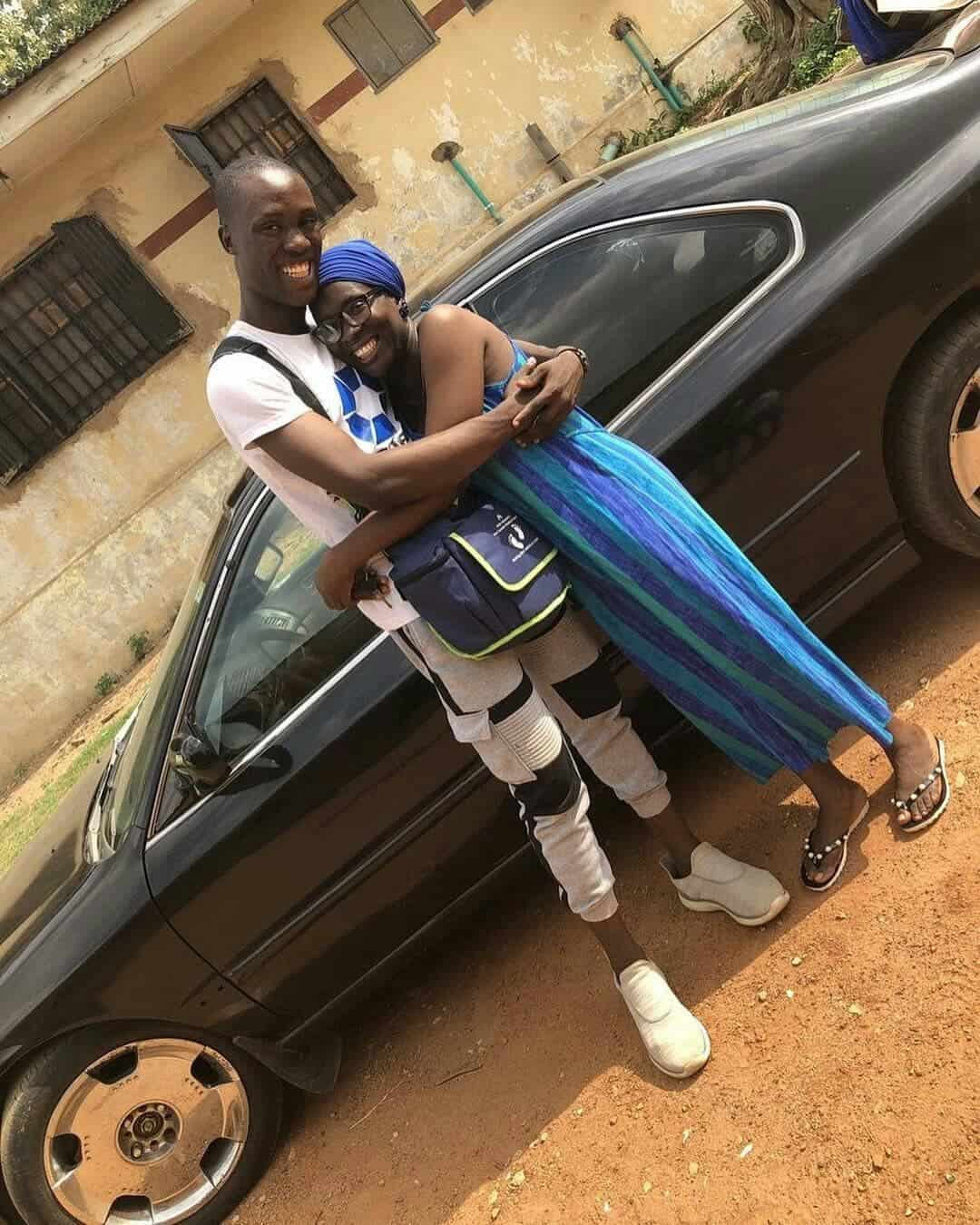 Photo of Nigerian man, 21 surprises mum with a car on her 45th birthday