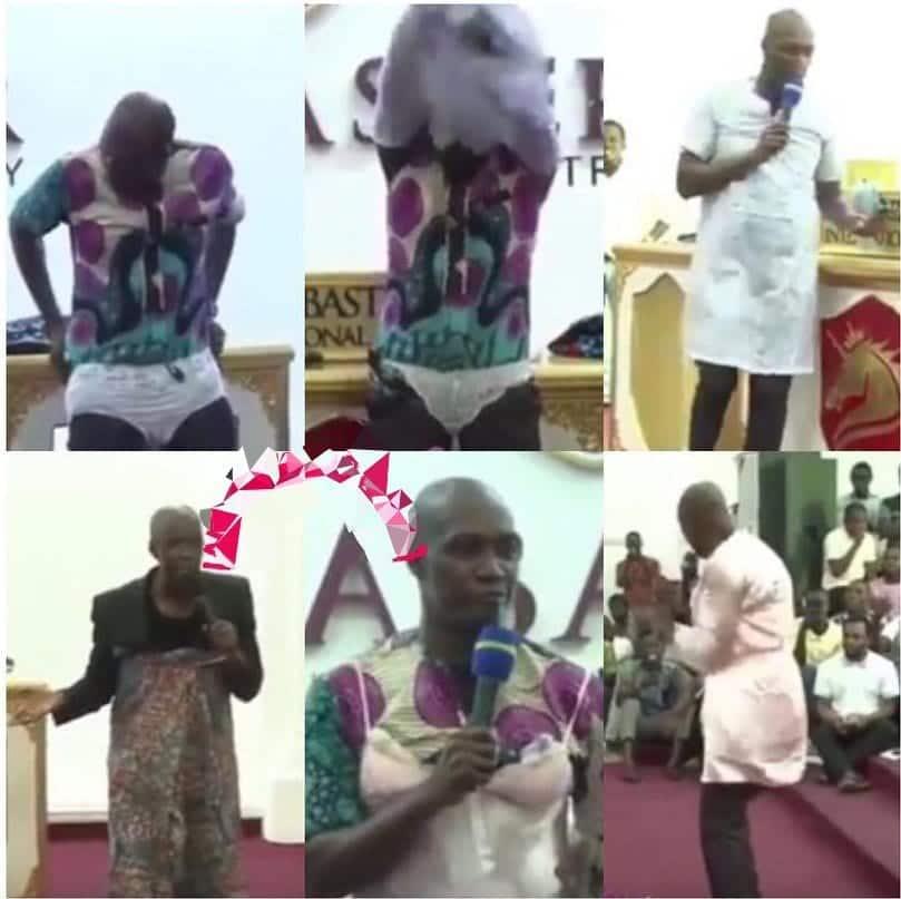Photo of Pastor wears panties, nighties in church to lecture women