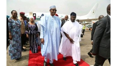 Photo of President Buhari arrives Lagos, welcomed by Ambode and others (Photos)