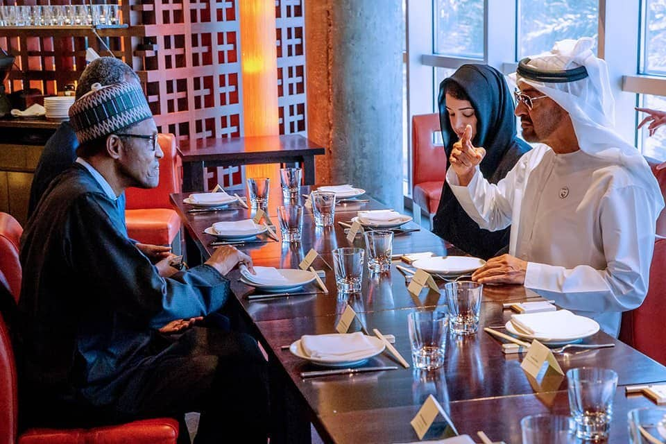 Photo of Lovey photo of President Buhari with Crown Prince of Abu Dhabi, Mohammed Bin Zayed Al Nahyan