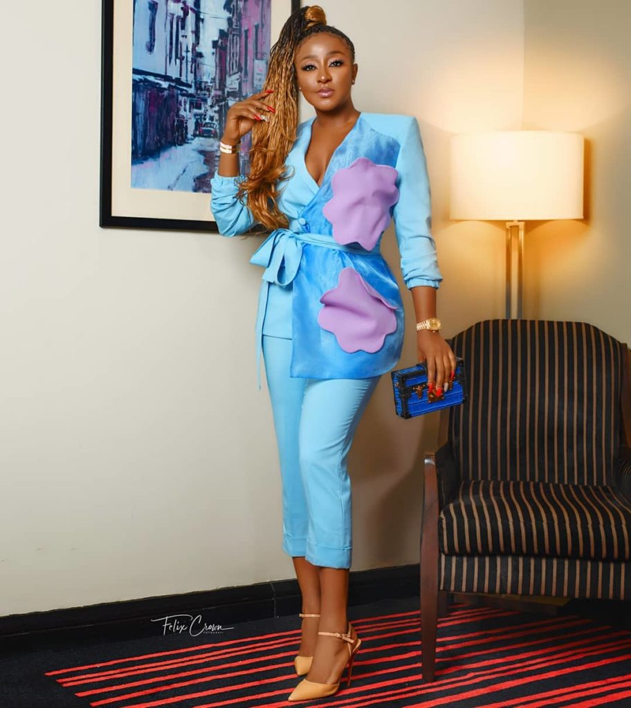 Ini Edo's melanin is popping as she rocked a power suit to a wedding
