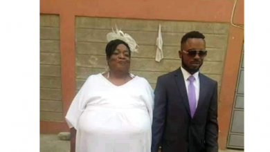 Photo of Viral wedding photos of a young man and his older wife with gigantic boobs