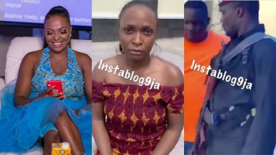 Photo of Blogger Blessing Okoro arrested by billionaire, Onye Eze, who owns the house she flaunted (video)