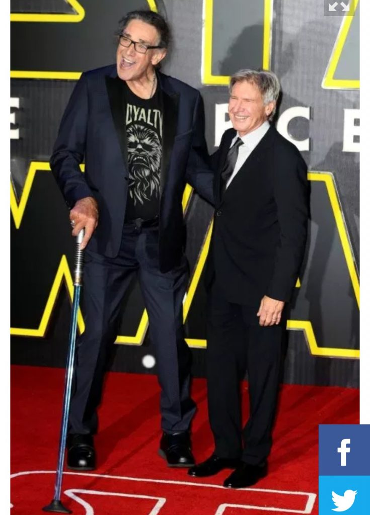 Peter Mayhew with Harrison Ford