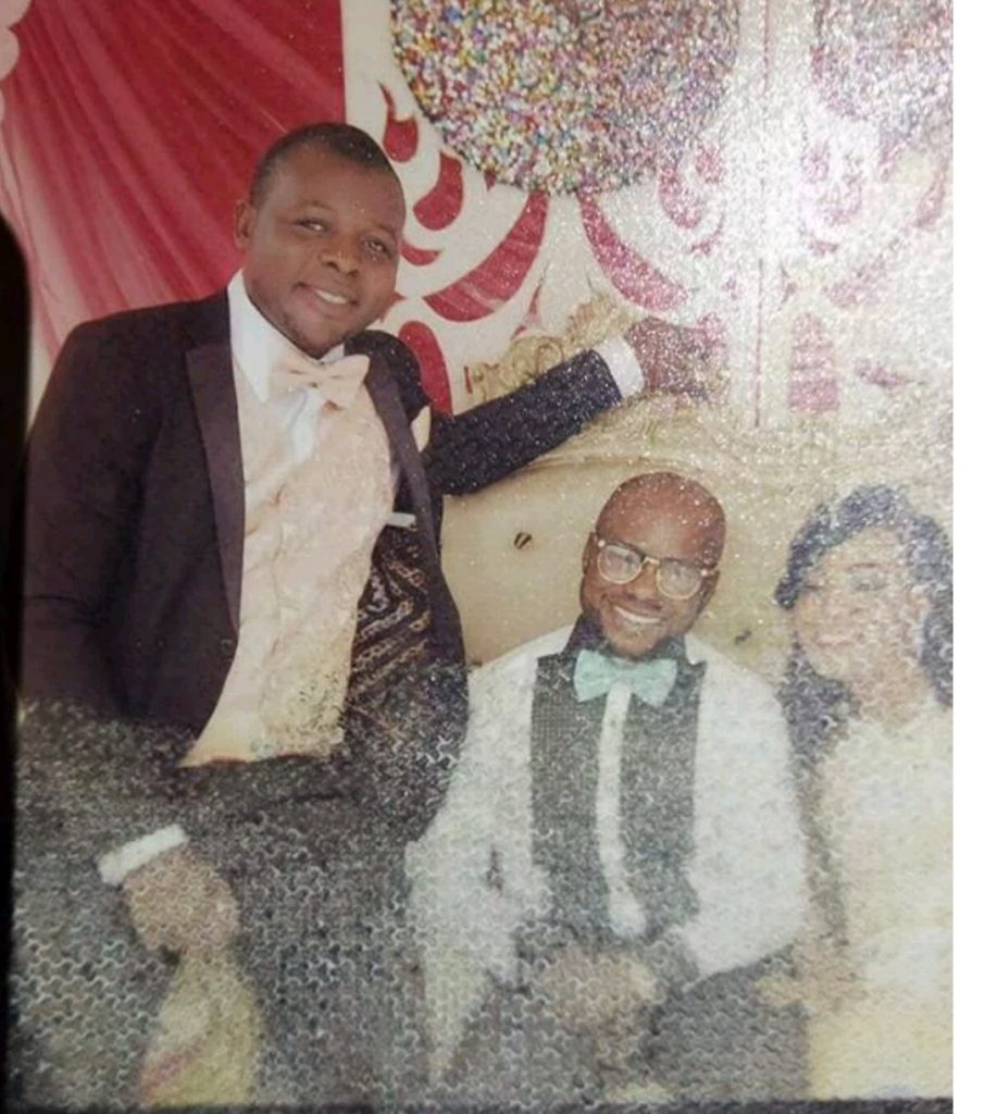 The alleged best man during Jeff's wife's first marriage seated on chair's arm
