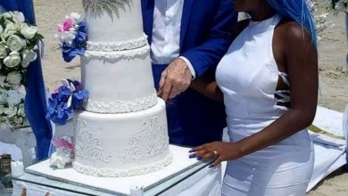 Photo of Young Nigerian lady and her 65-year-old white lover paint Oniru beach 'blue' with their wedding (Photos)