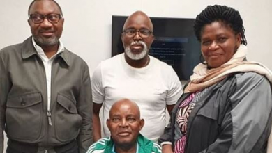 Photo of Femi Otedola, Amaju Pinnick pictured visiting Christian Chukwu at London hospital