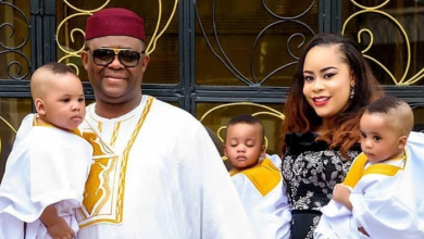 Photo of Beautiful moments FFK and wife dedicated their triplets in church
