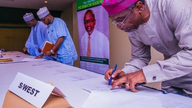 Photo of Lawmakers gather round Gbajabiamila, sign endorsement register (Photos)