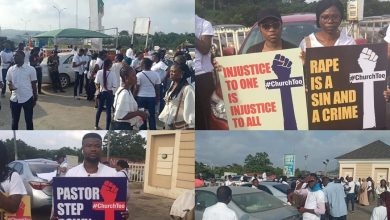 Photo of #ChurchTooMovement protesters gather in Abuja, Lagos in support of Busola Dakolo, asking Fatoyinbo to step down