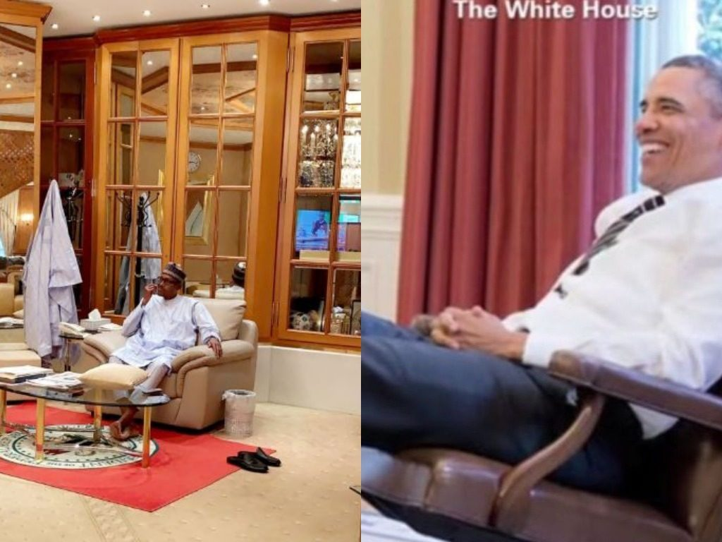 Buhari Vs Obama: Who rocked the relaxation pose better? (Pics)