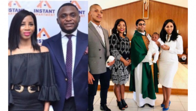 Photo of Ubi Franklin's 3rd baby mama, Nicola Siyo baptizes their son (photos)