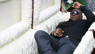 Photo of Charly Boy poses in a coffin, reveals why Nigeria is like hell fire