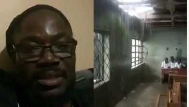 Photo of What Daddy Showkey said about a school with leaking roof in classroom
