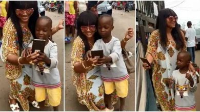 Photo of Mercy Aigbe surprises young fan who stopped her in the Market