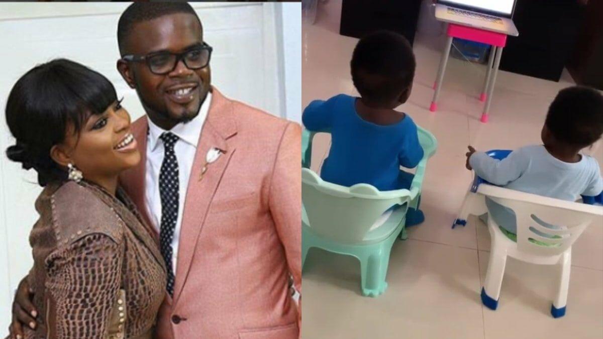 Funke Akindele shares glimpse of her twin boys watching TV