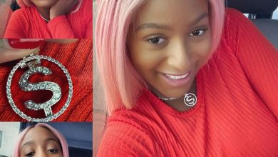 Photo of DJ Cuppy receives diamond pendant from Anthony Joshua