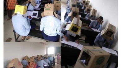 Photo of School makes students wear corrugated box to prevent exam malpractice