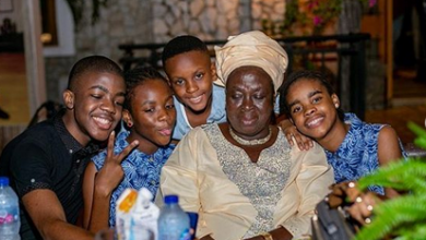 Photo of Kunle Afolayan's mum and kids stand by him as wife shuns his 45th birthday party (photos)