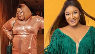 Photo of Eniola Badmus mocks Omotola Ekeinde as she makes grand entrance at wedding (photos)