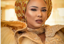 Photo of Iyabo Ojo teases fans ahead of 42nd birthday, with gold dress that can be worn in four different ways (photos)