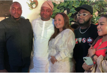 Photo of Davido, Zlatan and Peruzzi storm surprise birthday dinner of Oba Elegushi's wife